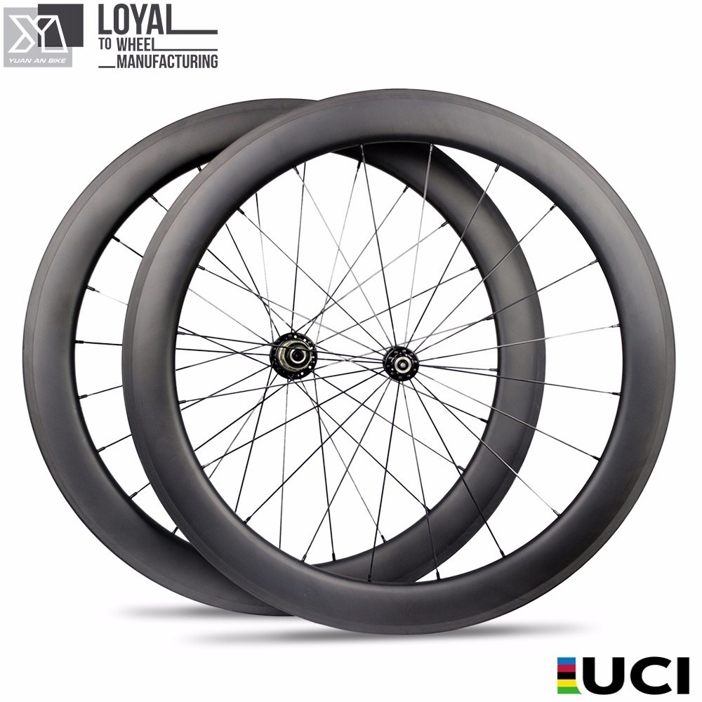 60mm Height 23mm Width 700c Road Bike Wheelset Clincher Type For Road Bicycle Carbon Fiber Wheel Roue Carbone Pour Velo Route(China)