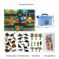64Pcs/Box Kids Toy Dinosaur Map Indoor Crawling Mat Simulation Model Animals Figure Ocean Wildlife World scene With Storage Box
