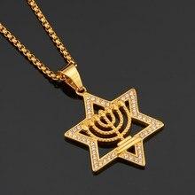 Yahudi Magen David yıldızı kolye kadın erkek İsrail Judaica İbranice takı mutlu Hanukkah kolye altın renk