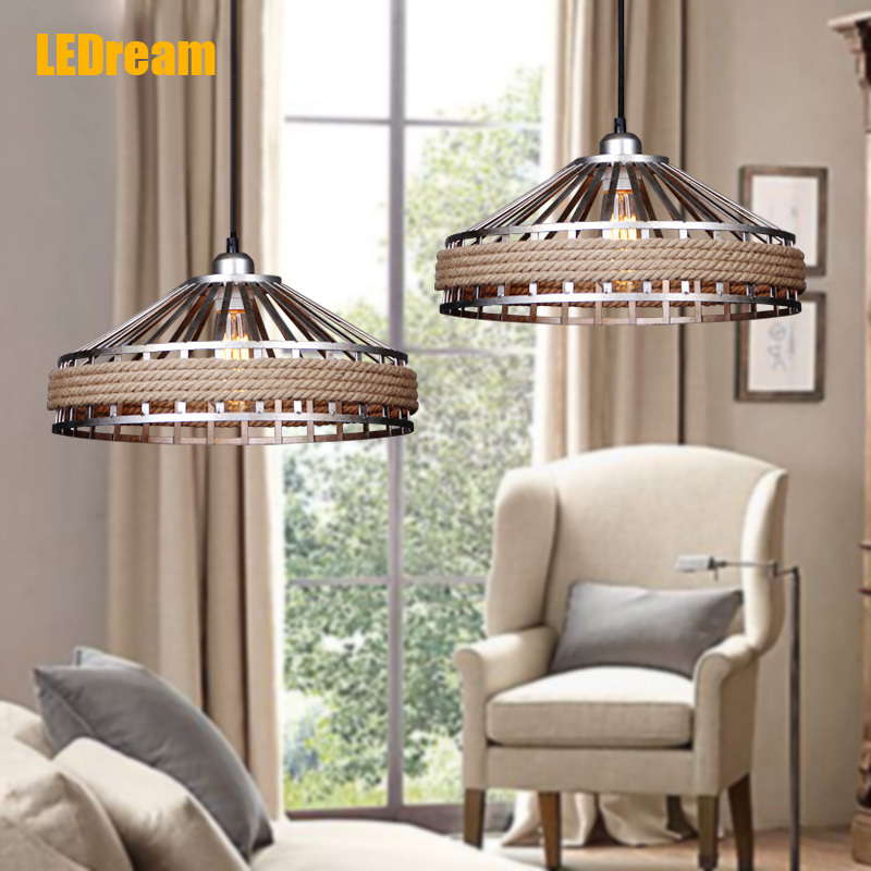 Creative hemp rope chandelier personality bar droplight American country retro single head droplight cafe table lamps d20w30w40w50w60w80w road lamp head can pick arm street lights