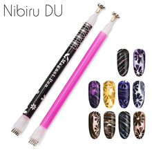Flower Designs Double Heads 3D Line Strip Effect Strong Magnetic Pen Nail Art DIY Magnet Stick For Cat Eye Gel 1pc cat eye magnetic stick flower strip magnetic pen 3d magic effect for cat eye gel varnish dual ended nail art tools