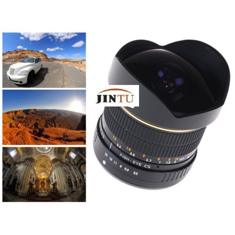 JINTU 8mm F/3,5 enfoque Manual lente gran angular Fisheye para Canon ...