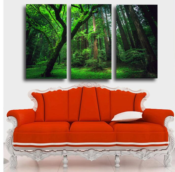 NO FRAME 3 Panels Green Forest HD Printed Canvas Painting Modern Home Decor Painting Wall Art Picture for Living/Bed Room