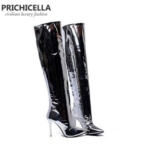 Image 3 - PRICHICELLA Stilvolle Mädchen silber spiegel leder spitz high heel overknee stiefel glänzend sexy große booties