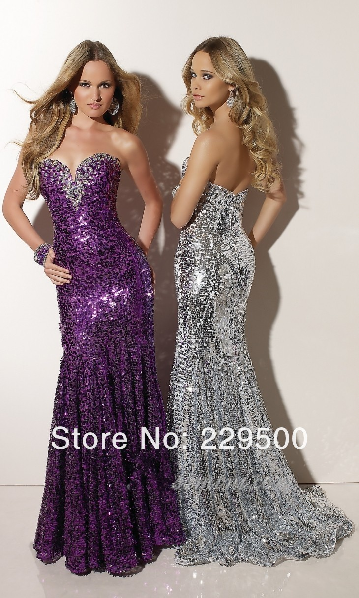 Sequin Mermaid Long Evening Dresses Prom Dresses 2013-in Prom Dresses ...
