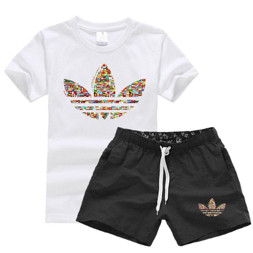 e1c76e75fb1 Летняя новая распродажа мужские комплекты футболки + шорты комплекты из  двух предметов Повседневный Спортивный костюм 2019 прилив брендовая .