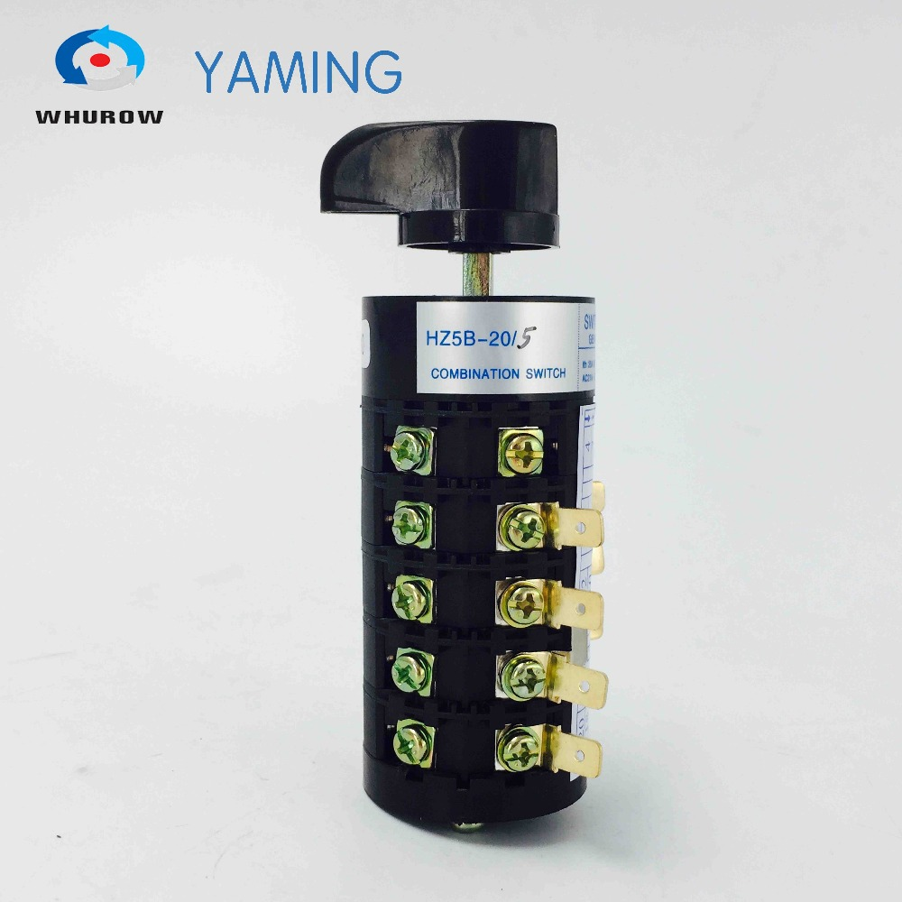 HZ5B-20/5 20A 5 Poles 3 position Universal Changeover Rotary Cam switch electric control motor switches suppliers load circuit breaker switch ac ui 660v ith 100a on off 3 poles 3 phases 3no 2 position universal rotary cam changeover switch