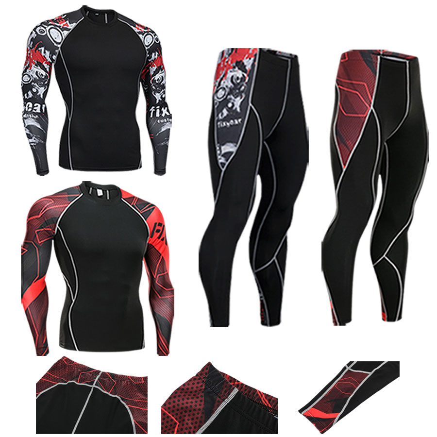 2018 19 Mens Compression Set Running Tights Workout Fitness Training Tracksuit Long Sleeves Shirts Sport Suit Rashgard Kit S-4XL