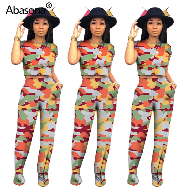 Women Summer Wave Striped Camouflage Print O-neck Tee Top Sexy Club Straight Pants Suit Plus Size Two Piece Set Tracksuit Outfit