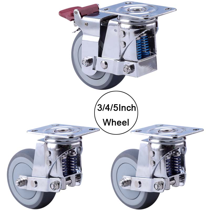 4PCS Silent Damping Wheel with Spring, TPR Wheel Anti-Seismic Caster,for Heavy Equipment,Gate,Industrial Casters JF1874
