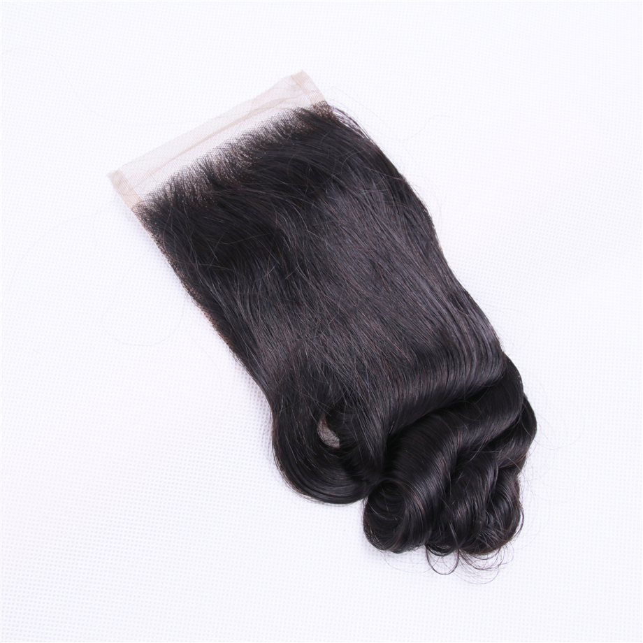 Brazilian Loose Wave Closure Silk Base Human Hair Lace Closures 100% Remy Free Part 130% Density Natural Color 8-22 inch