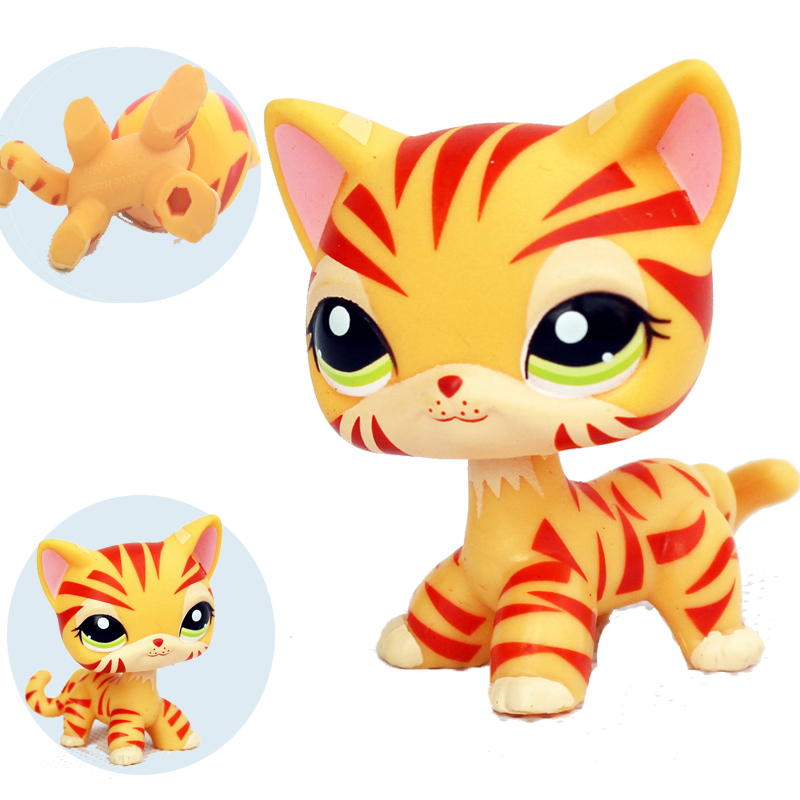 old original pet shop lps toy #1451 orange Tabby standing real rare short hair cat anima ...