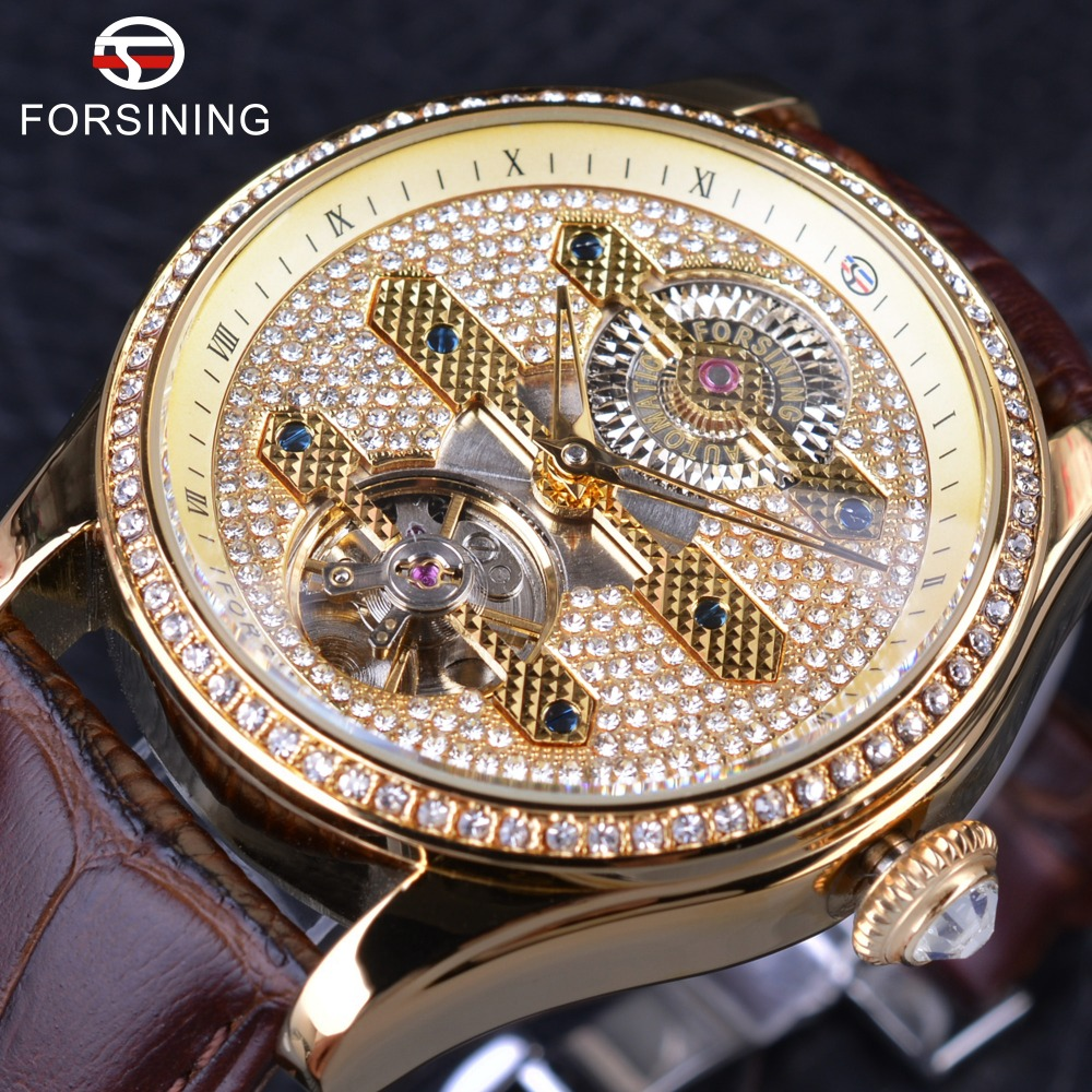 Forsining 2017 Fashion Diamond Tourbillion Display Brown Genuine Leather Waterproof Men Watches Top Brand Luxury Automatic