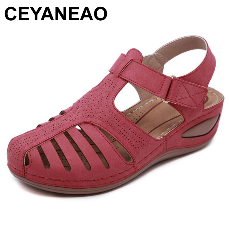 CEYANEAO Women's Sandals Shoes On-The-Platform Round-Toe Comfortable Summer