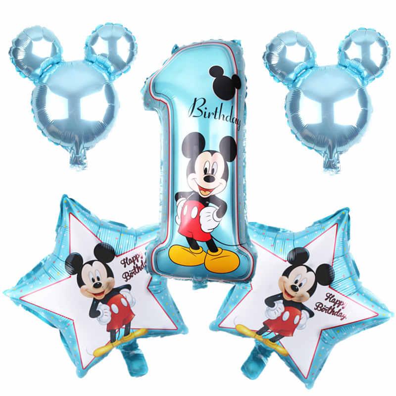 TSZWJ X-155 Nieuwe 5 stks/partij Mickey Minnie Gelukkige Verjaardag Set Ballonnen kinderen Verjaardagsfeestje Begunstigd Ballon Set Hoge Kwaliteit