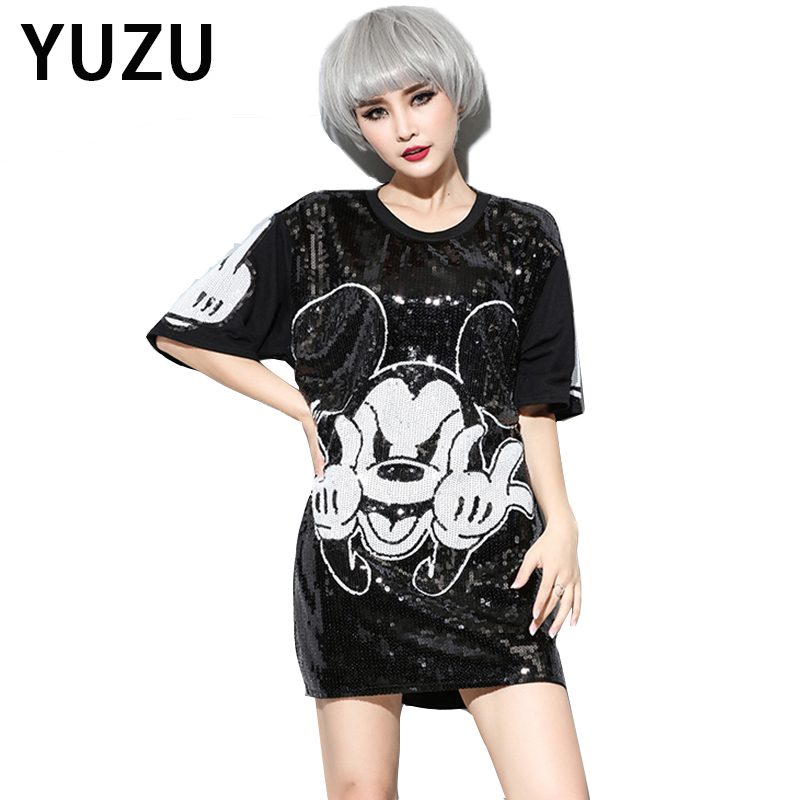 Buy Cheap Hippie Mickey Mouse Sequin Dress Casual O-Neck Half Sleeve Loose Black Cartoon Print Dress Female New Look Graffiti Dress