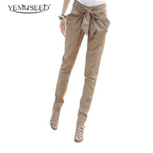 AS-015 2014 high waist women's Skinny Long Trousers OL casual Bow harem pants plus size Black, Khaki Free shipping