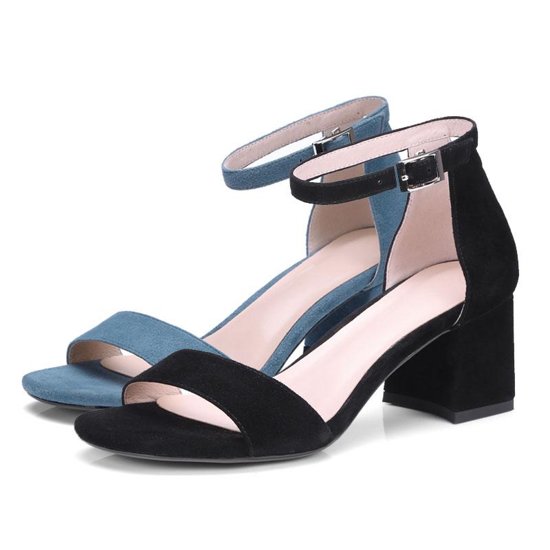 Suede Correa Sandalias Bombas Fuanyuan Zapatos Tobillo Con Altos Toe Talones Abierto Mujeres Tacones blue Black Cuadrado Mujer Sexy z0zxHt