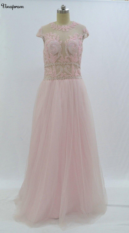 Sexy longue dentelle robes de soirée 2017 Scoop cou perlé robes de soirée formelles avec Sexy dos nu robe de soirée en vente