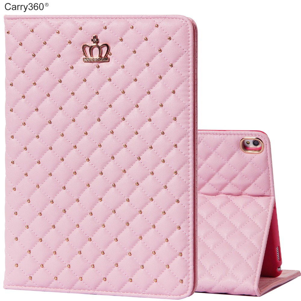 Case for iPad Pro 10.5, Carry360 Brand New Luxury Pink Cute Crown PU Leather Stand Smart Cover for iPad Pro 10.5 inch Girl Women
