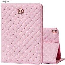 Caso para iPad Pro 10.5, Carry360 Estrenar de Lujo Rosada Linda Corona de LA PU Cuero Coloca la Cubierta Elegante para el ipad Pro 10.5 pulgadas Muchacha de Las Mujeres