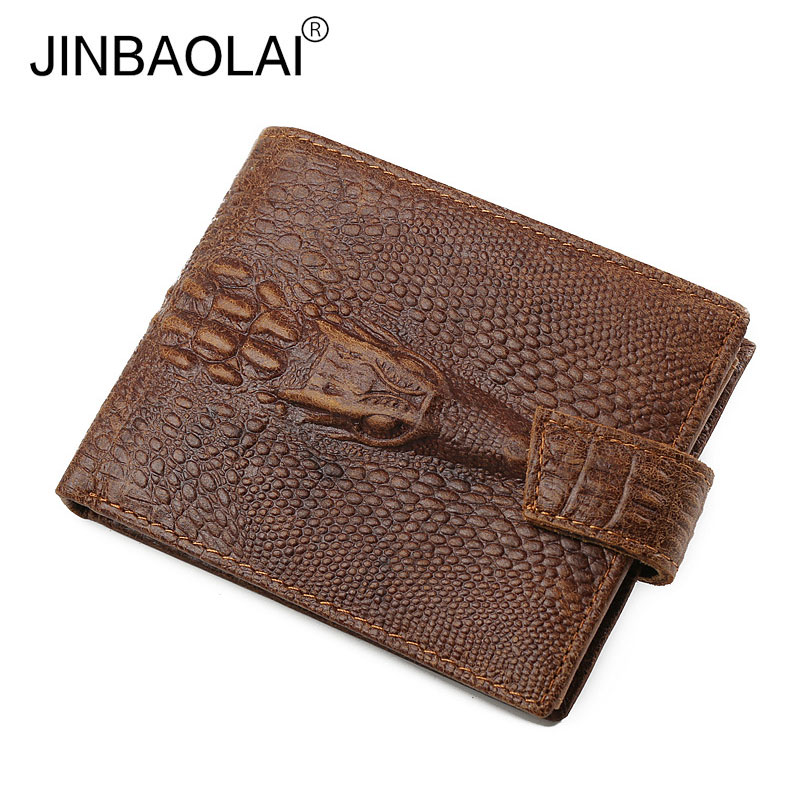 JINBAOLAI Brand Vintage Alligator Men Genuine Leather Wallets Male Coin Pocket Purse Hasp Wallet with Card Holder for Men new fashion gubintu removeable pocket men vintage wallets cow genuine leather wallet brand purse card holder coin purse jan 19