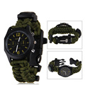 Hot 6 In 1  Paracord Survival Bracelet with Watch Compass Flint Fire Starter Scraper Whistle Gear for Outdoor camping bracelet