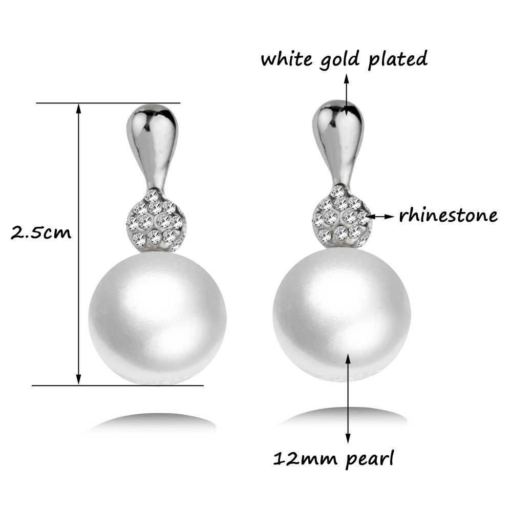 SINLEERY Elegant Round Gray White 12MM Pearl Earrings Drop for Women Bridal Wedding Jewelry Gifts Es207 SSH