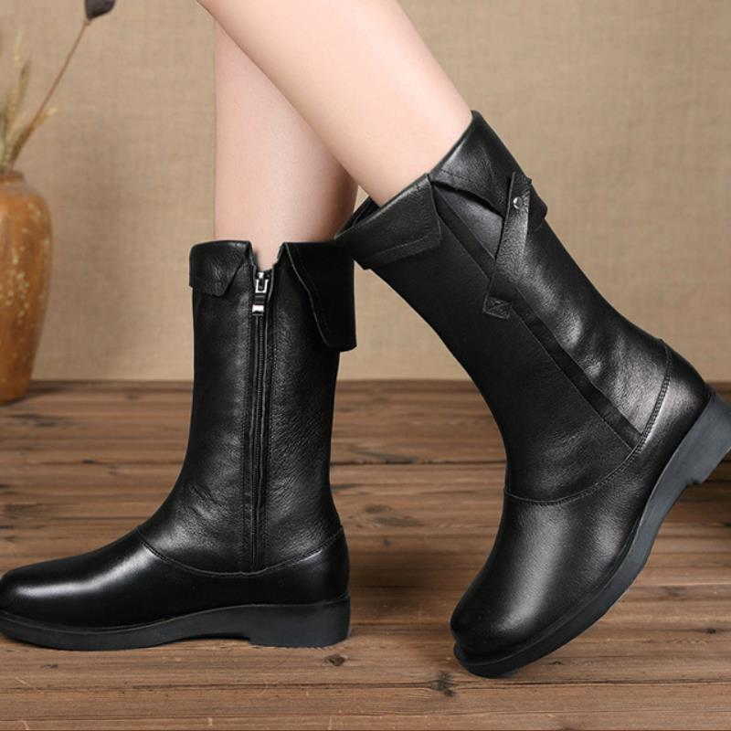 Boots ladies new women s boots retro head side zipper top leather high Martin boots artificial
