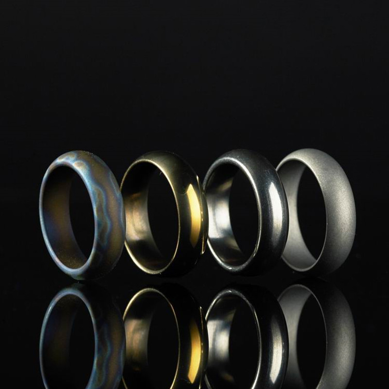 18MM Diameter Titanium  EDC Ring Men Women Tail Ring Jewelry for Party Bands 4 Colors Polished Surface broad paracord