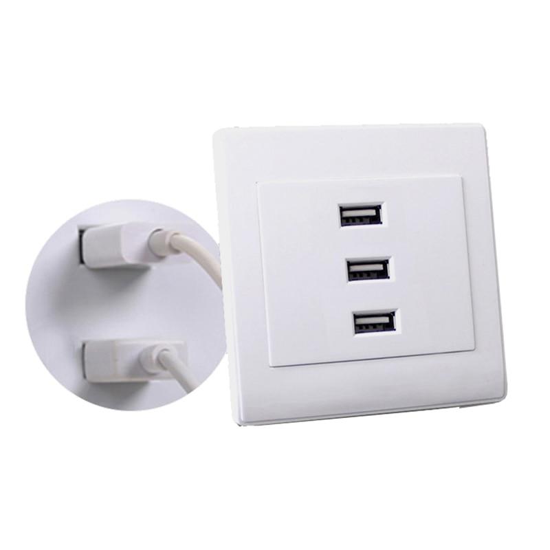 <font><b>USB</b></font> 2.0 <font><b>Wall</b></font> Socket <font><b>Charger</b></font> <font><b>Outlet</b></font> Plate Panel DC 5V 10A 3 Ports Universal #W0825S#