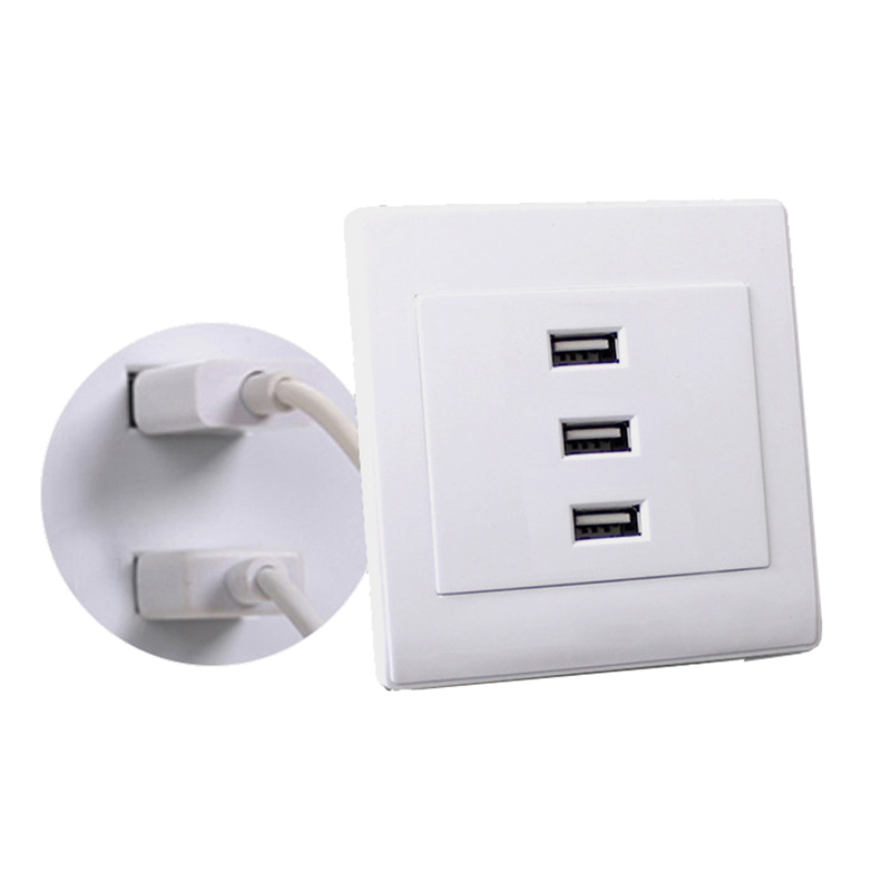 USB 2 0 Wall Socket Charger Outlet Plate Panel DC 5V 10A 3 Ports Universal W0825S