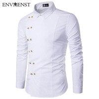 2017 New Fashion Brand Men Shirt Oblique Buckle Dress Shirt Long Sleeve Slim Fit Camisa Masculina