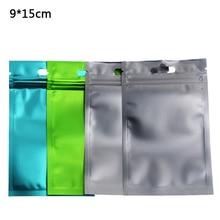 9*15cm Frost Aluminum Foil Clear Plastic Zip Lock Bag 100pcs/lot Heat Sealable Zipper Reclosable Storage With Hang Hole
