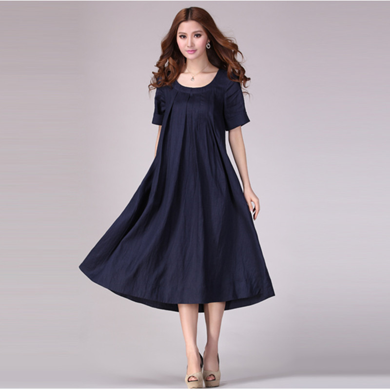 Free Shipping 2018 New One piece Summer Plus Size Loose Dress For Women Linen Cotton A line Short Sleeve Elegant Dress With Belt