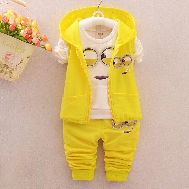 Hot Style 2016 Spring Baby Girls Boys Minion Suits Infant/Newborn Clothes Sets Kids Vest+T Shirt+Pants 3 Pcs Sets Children Suits