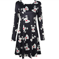 New 2016 ladies elegant dress Christmas deer character print women long sleeve casual plus size dress