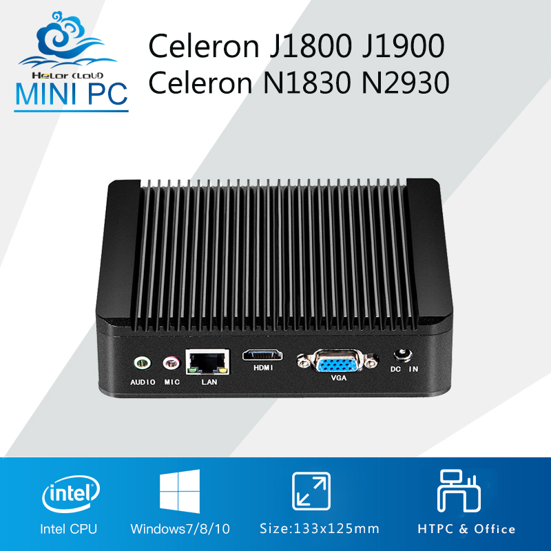 Fanless Mini Computer Celeron N2830 J1800 Dual Core Mini PC Windows 10 Celeron N2930 J1900 Quad Core HDMI HTPC TV box WIFI mini pc celeron n2930 j1900 quad core window 7 celeron n2830 j1800 dual core windows 10 mini computer desktop ddr3 ram htpc hdmi