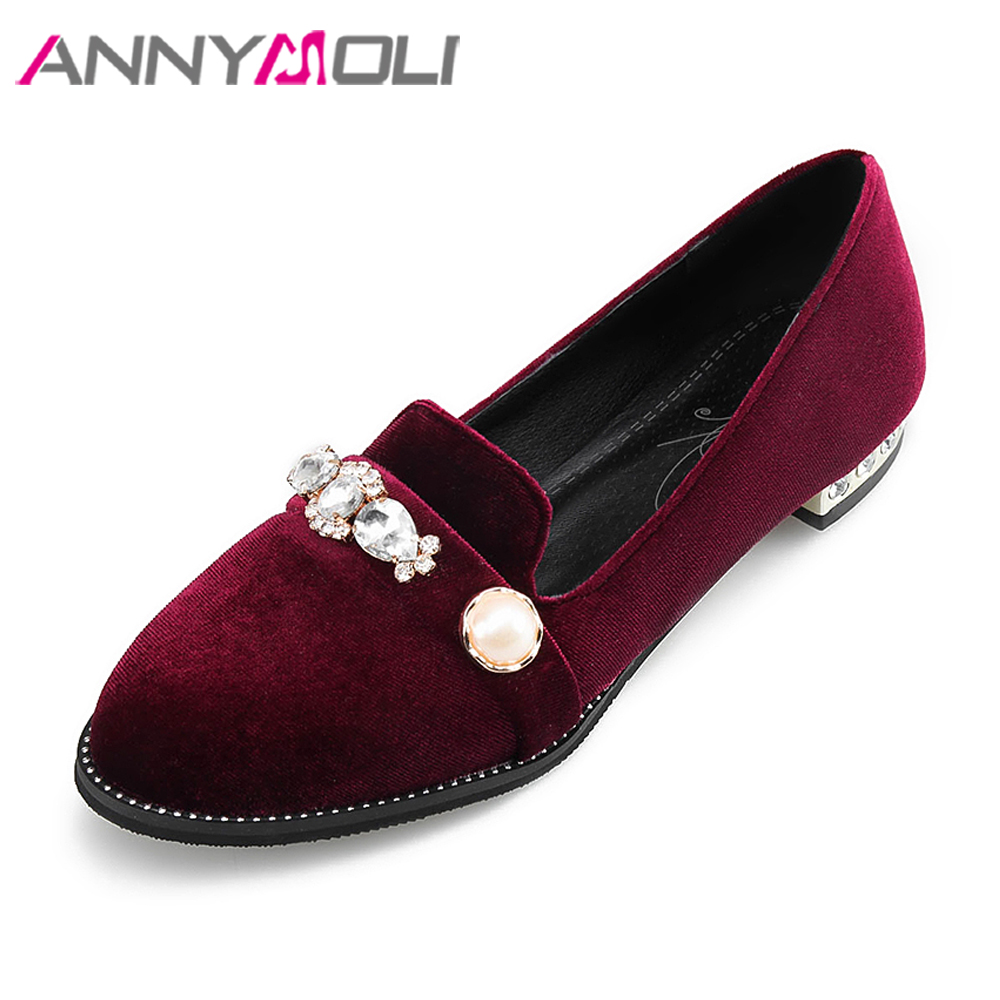 ANNYMOLI Women Velvet Shoes 2018 Spring Boat Flats Crystal Slip On Loafers Round Toe Casual Shoes Female Girls Flat Shoes Wine new shallow slip on women loafers flats round toe fishermen shoes female good leather lazy flat women casual shoes zapatos mujer