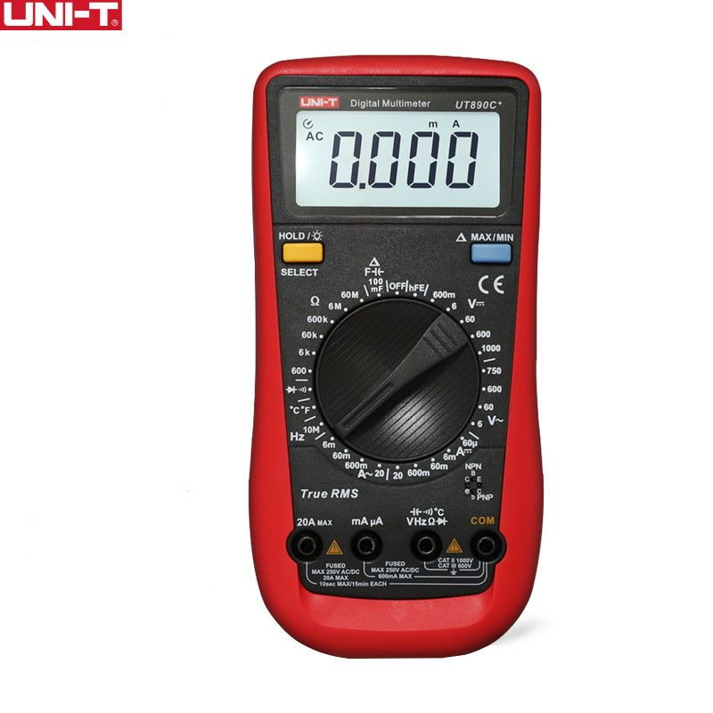 UNI-T UT890C+ True RMS Multimeter LCD Digital Display Electrical Tools Handheld Ohm AC/DC Voltage Ammeter Current Tester