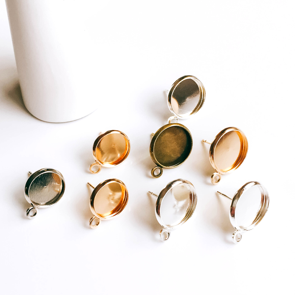 ZEROUP Gold Silver Plated Earring Setting Round Cabochon Base Eardrop Accessories Copper Material DIY Handmade Craft 20pcs