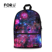 FORUDESIGNS Heißer Kinder Mädchen Leinwand Schultaschen Klassische Galaxy Star Universe Raum Drucken Schultasche für Teenager Kinder Rucksack