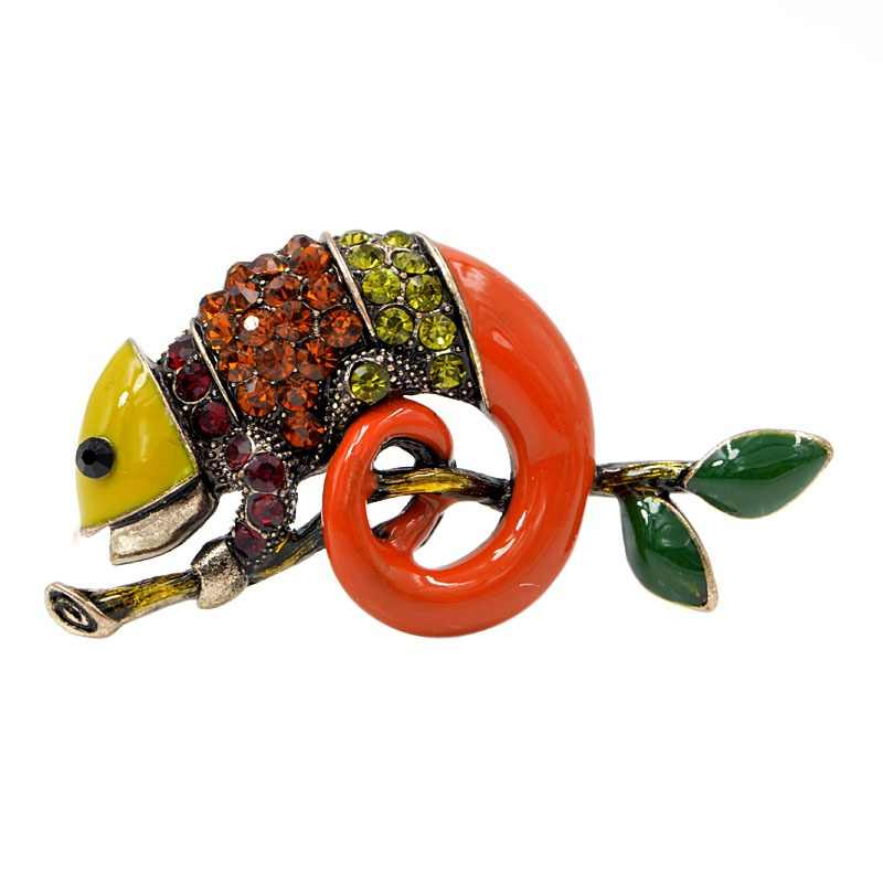 CINDY XIANG Colorful Enamel Lizard Brooches for Women Rhinestone Vintage Animal Jewelry Creative Coat Suit Accessories Brooch