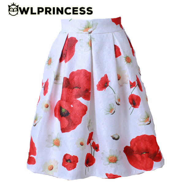 Z&KOZE 2016 New Audrey Hepburn Style Women's tutu Skirt High Waist 3D Carving Floral Pleated Midi Skirts Vintage Ball Gown