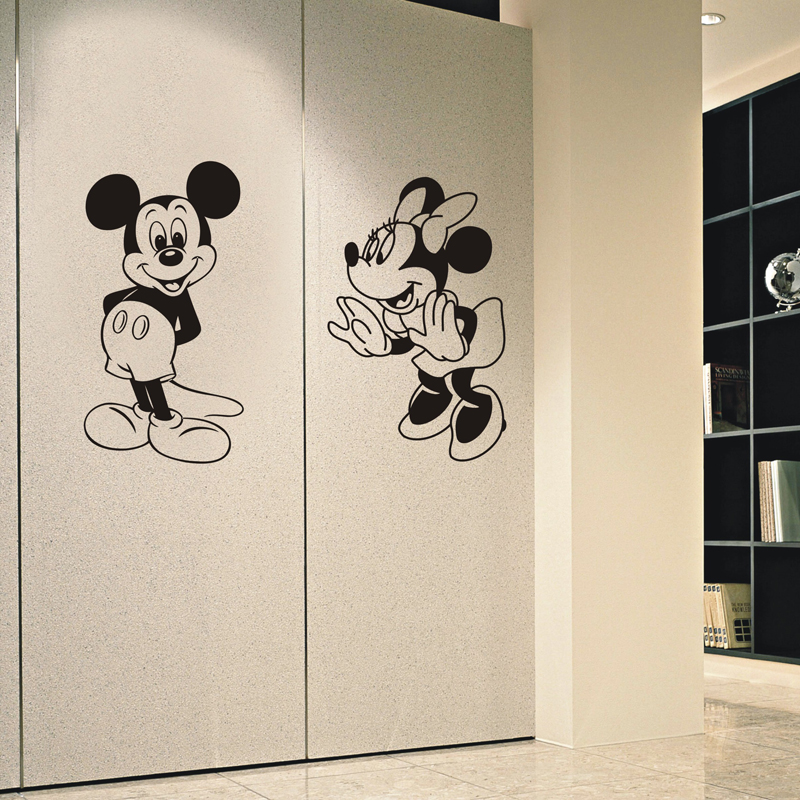jjrui mickey mouse minnie vinyl mural wall sticker decals kids nursery room home decor for. Black Bedroom Furniture Sets. Home Design Ideas
