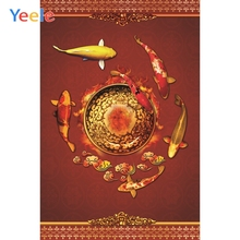 Yeele Lunar New Photocall Chinoiserie Fishes Decor Photography Backdrops Personalized Photographic Backgrounds For Photo Studio