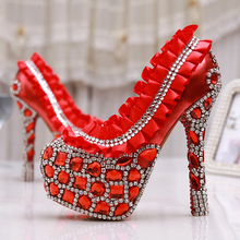 New Shiny Red/White 4″ High-heeled Bridesmaid Bridal Shoes Crystal Diamond Lady Shoes for Wedding Party Ball Prom Pageant Event