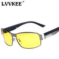 LVVKEE 2017 Polarisées Conduite lunettes de Soleil Hommes de Mode lecteur de voiture Lunettes de Soleil Pour Femme/Mâle métal cadre Nuit Vision lunettes