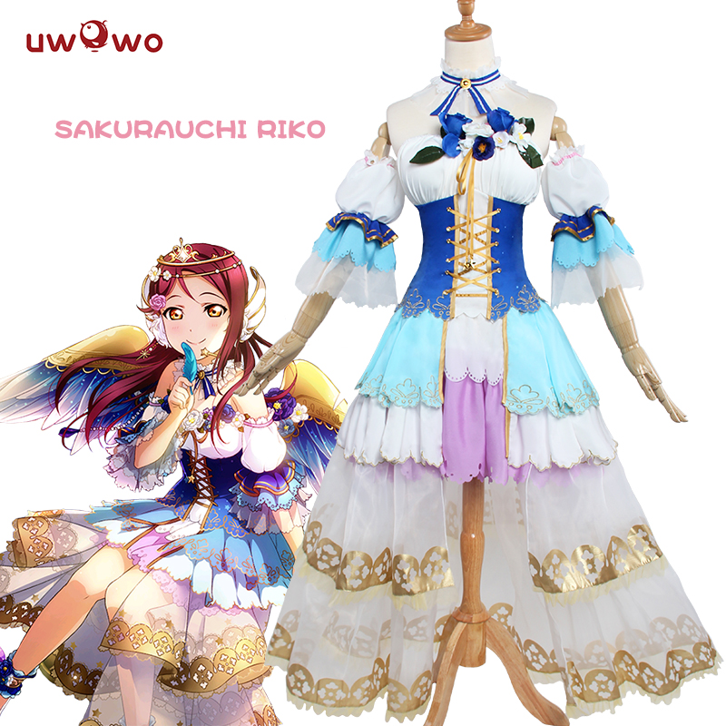 UWOWO Sakurauchi Riko Cosplay Love Live Sunshine Aqours Angel Awake Idolized Costume Love Live Cosplay Anime Lovelive Sunshine