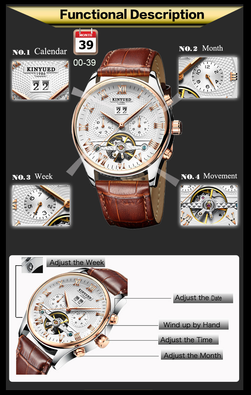 HTB1h1. eRKw3KVjSZFOq6yrDVXad KINYUED Skeleton Tourbillon Mechanical Watch Men Automatic Classic Rose Gold Leather Mechanical Wrist Watches Reloj Hombre 2019
